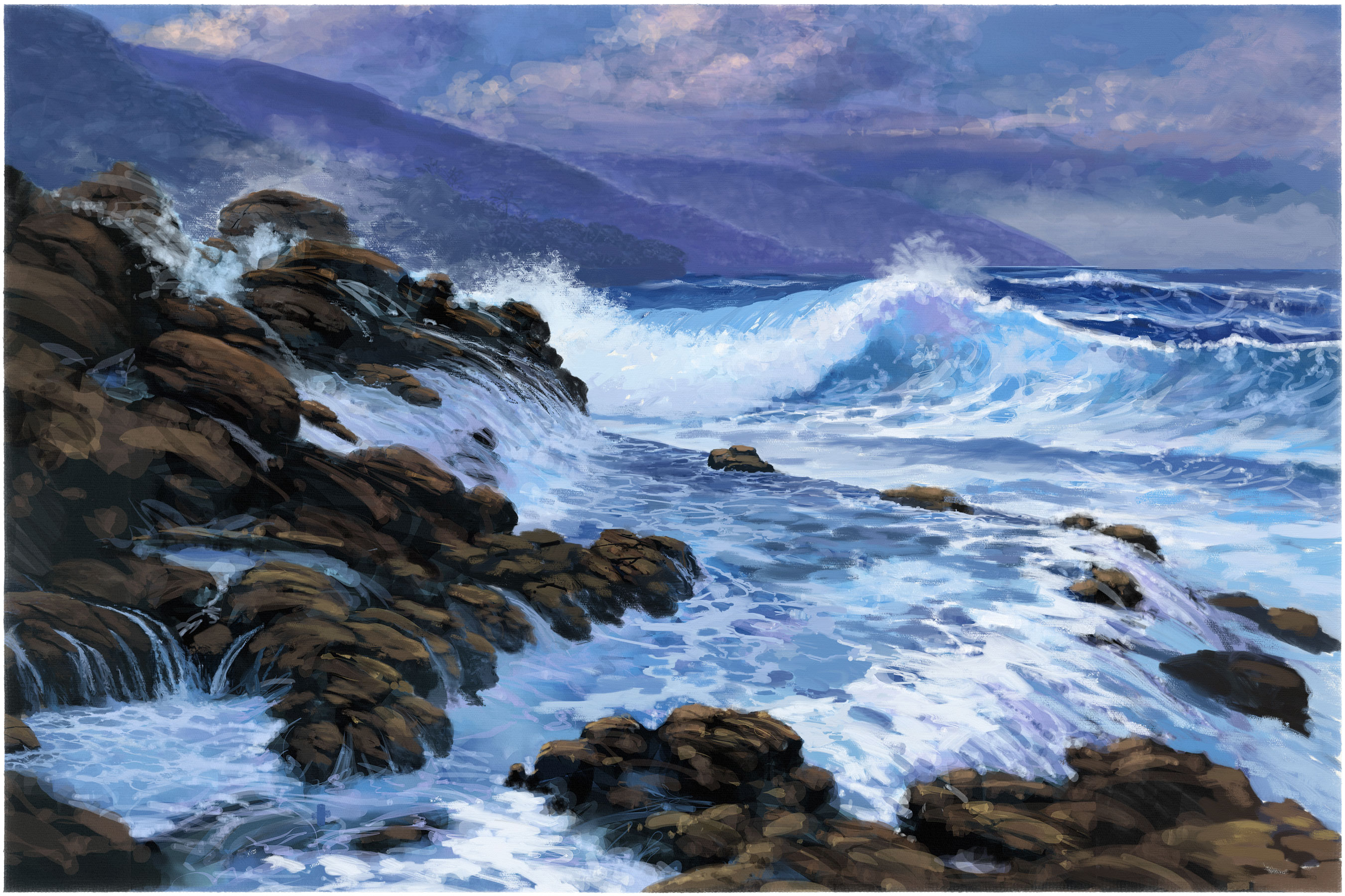 seascape - getting used to Rebelle Oils