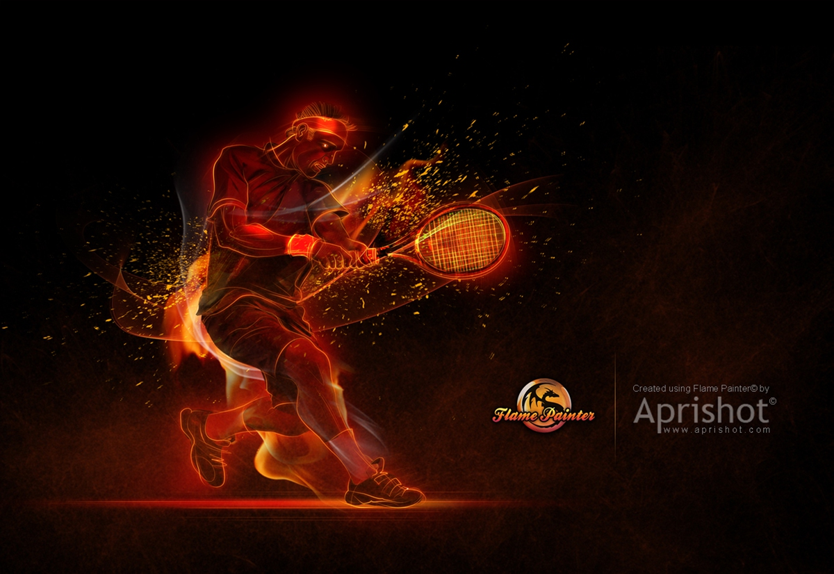 Flaming Tennis player